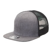 Heathered Flat Peak Trucker with Supacolour Printing - FULL COLOUR